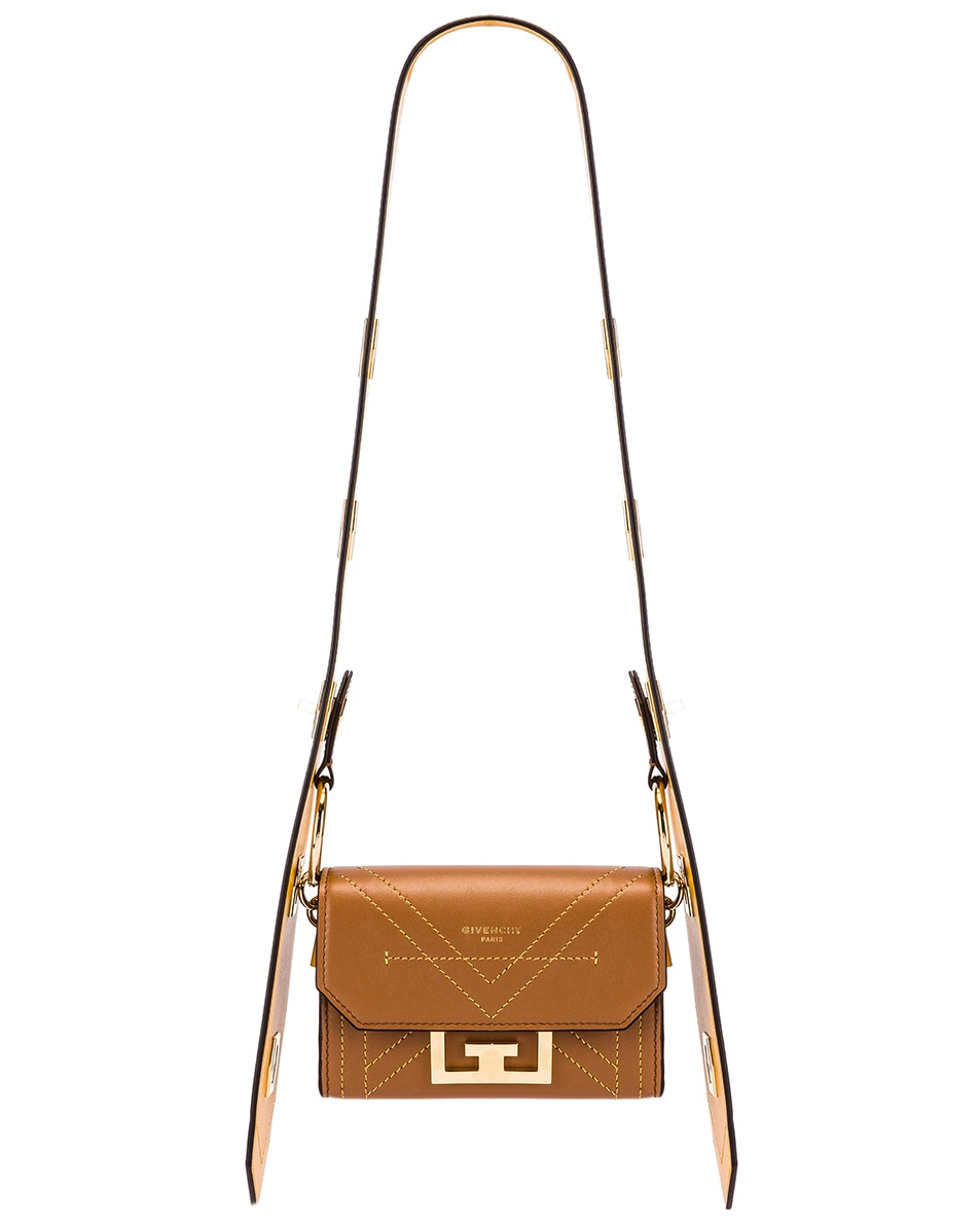 Image 1 of Givenchy Nano Eden Leather Contrasted Details Bag in Pony Brown