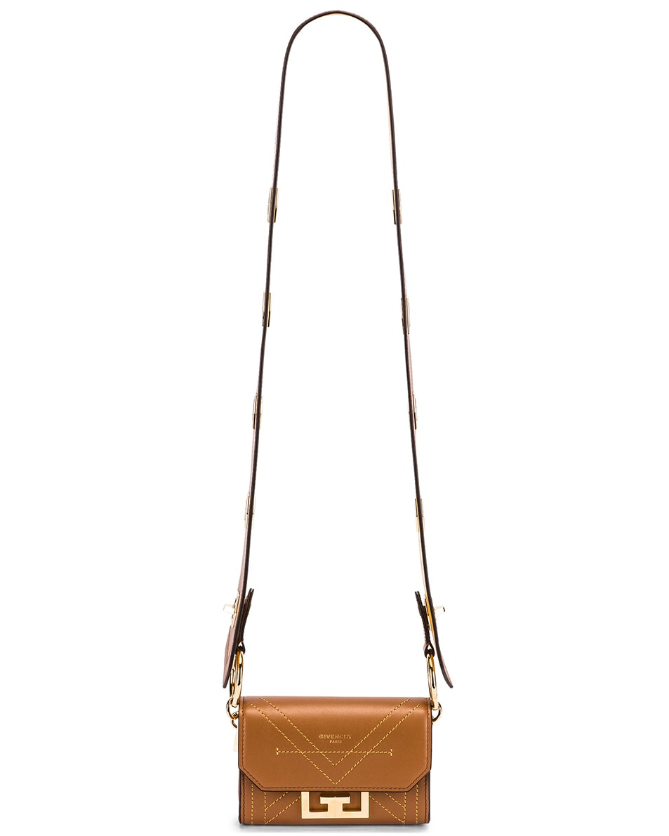 Image 6 of Givenchy Nano Eden Leather Contrasted Details Bag in Pony Brown
