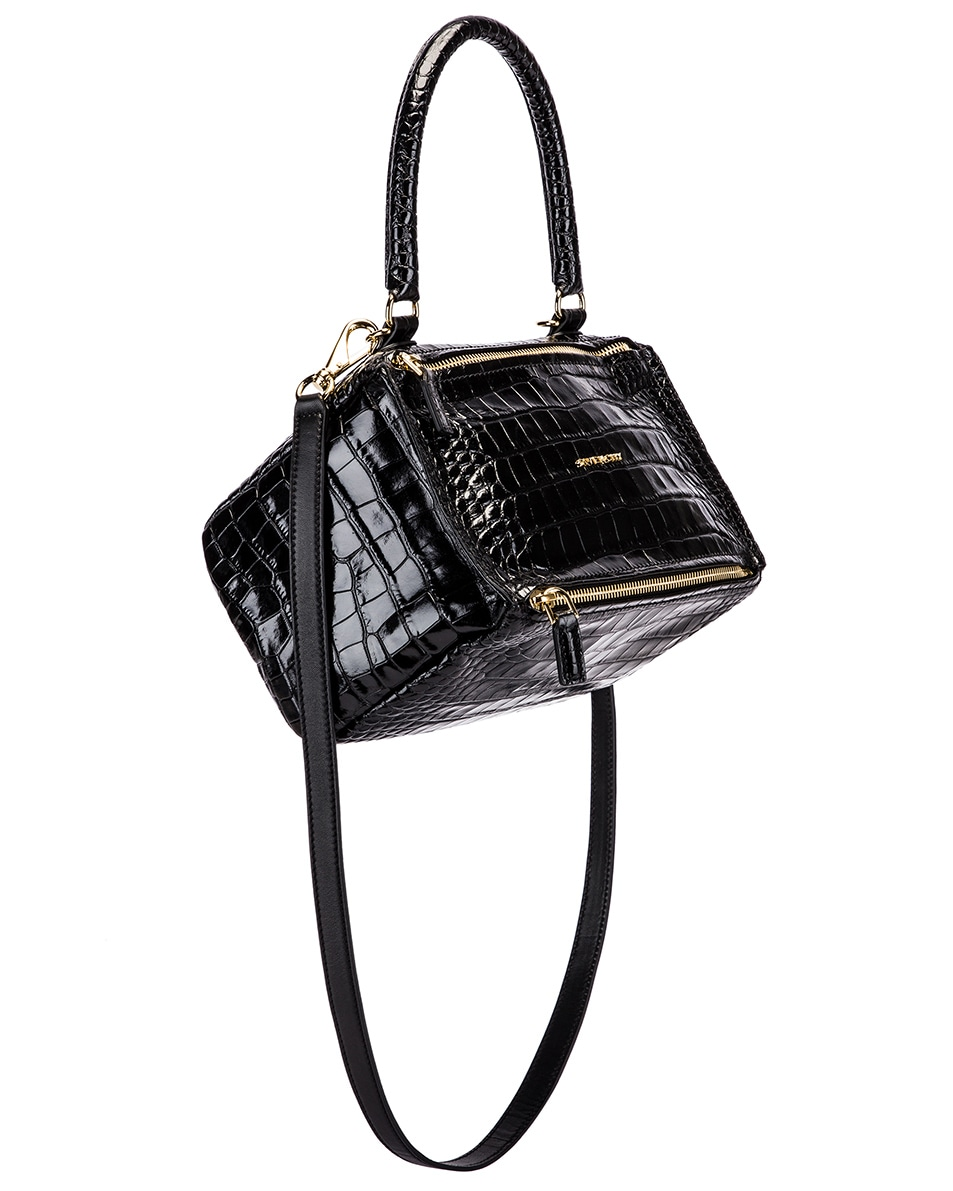Image 1 of Givenchy Small Pandora Croc Embossed Bag in Black