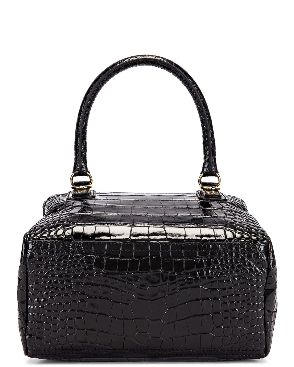 Image 3 of Givenchy Small Pandora Croc Embossed Bag in Black