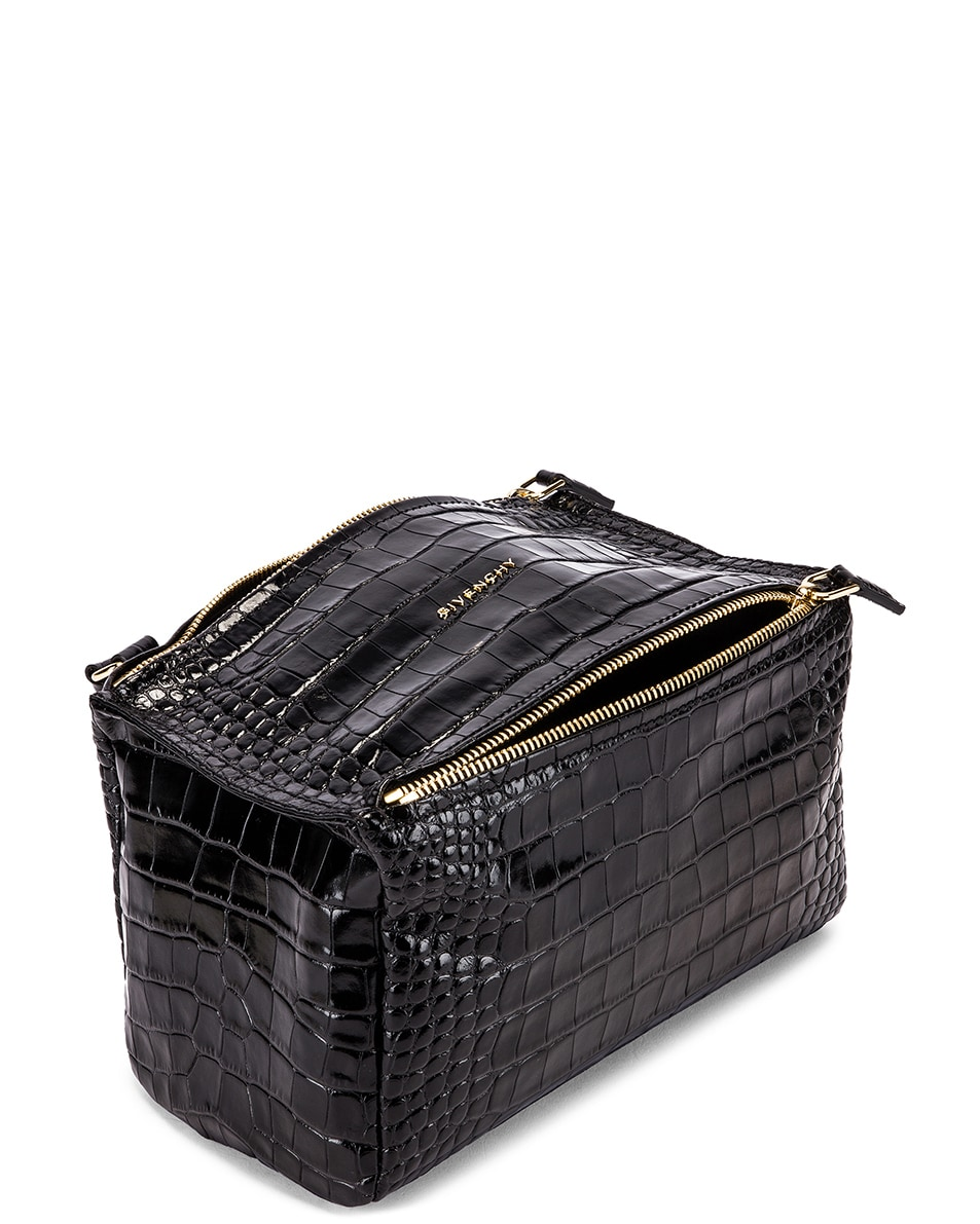 Image 4 of Givenchy Small Pandora Croc Embossed Bag in Black