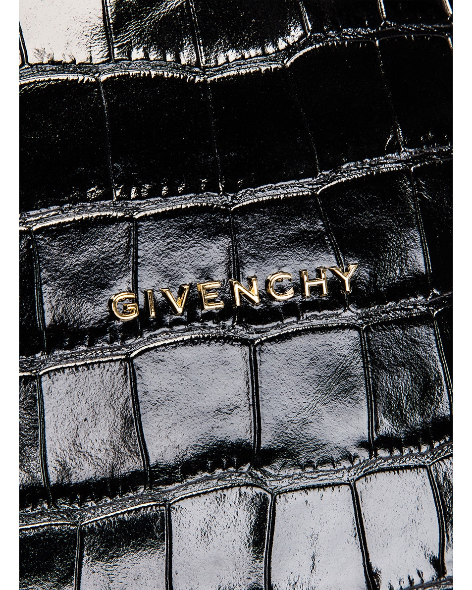 Image 6 of Givenchy Small Pandora Croc Embossed Bag in Black