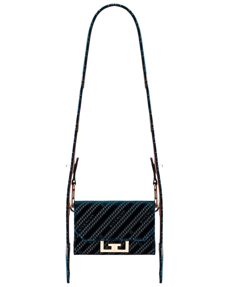 Image 1 of Givenchy Nano Eden Lasered Velvet Bag in Oil Blue