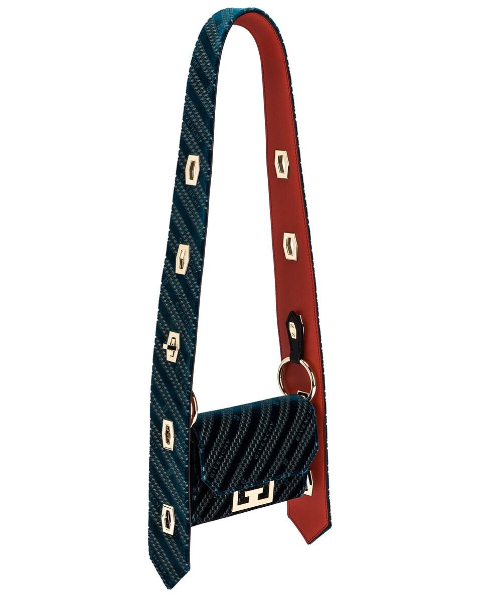 Image 5 of Givenchy Nano Eden Lasered Velvet Bag in Oil Blue