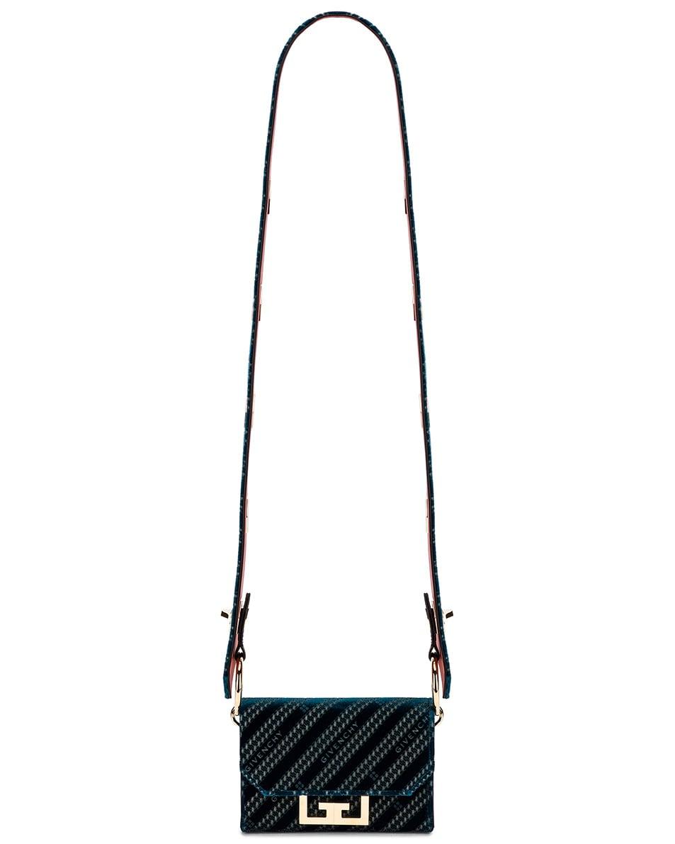 Image 7 of Givenchy Nano Eden Lasered Velvet Bag in Oil Blue