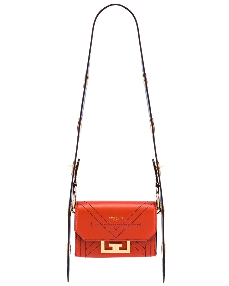 Image 1 of Givenchy Nano Eden Leather Contrasted Details Bag in Dark Orange