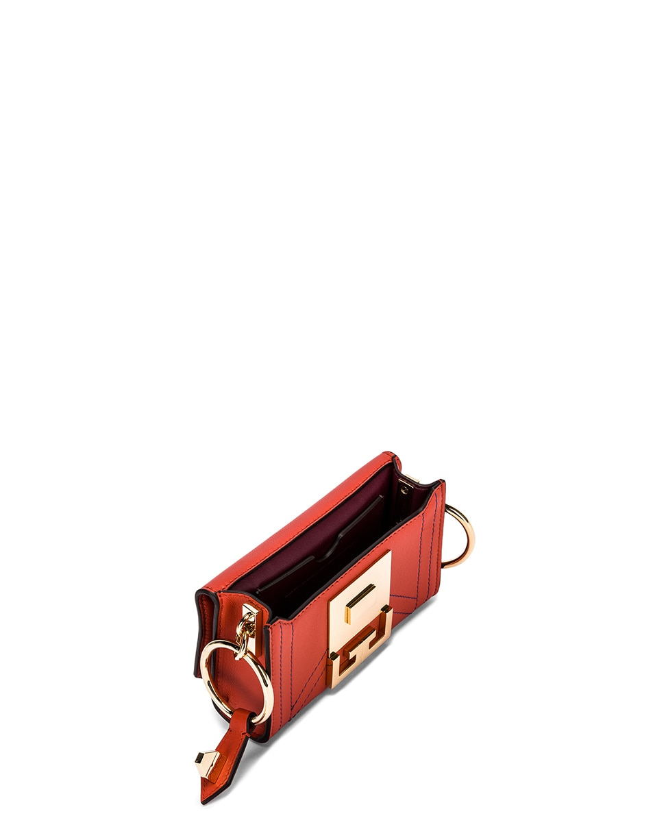 Image 6 of Givenchy Nano Eden Leather Contrasted Details Bag in Dark Orange