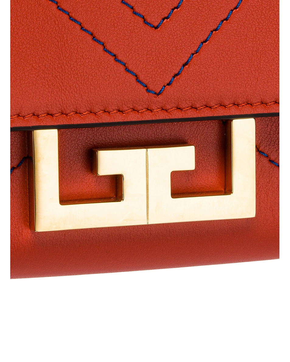 Image 9 of Givenchy Nano Eden Leather Contrasted Details Bag in Dark Orange