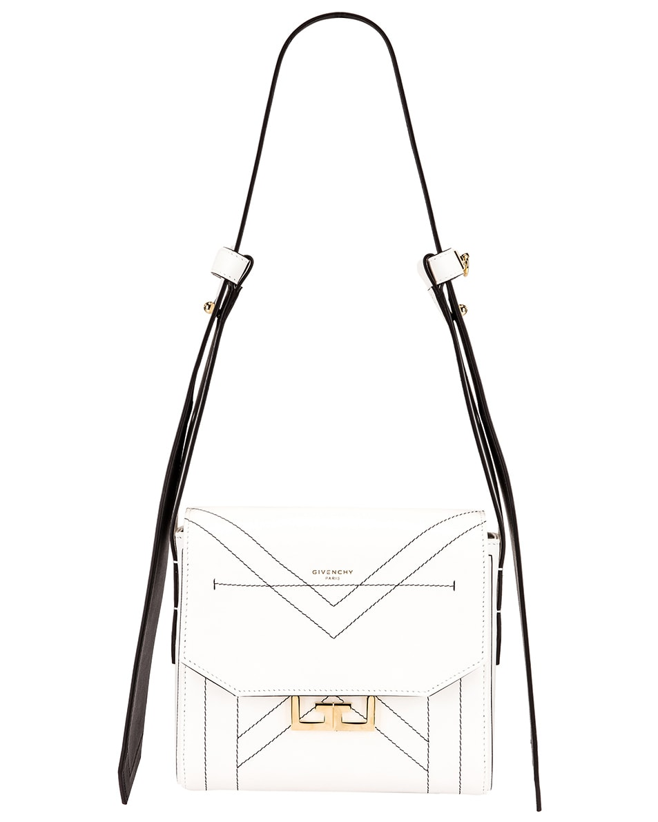 Image 1 of Givenchy Small Eden Leather Contrasted Details Bag in White