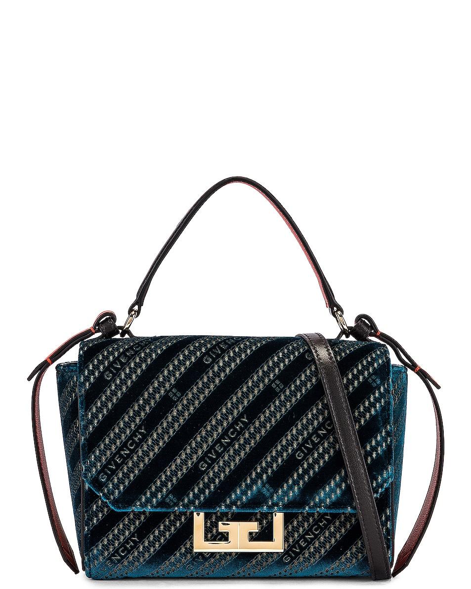 Image 1 of Givenchy Mini Eden Lasered Velvet Bag in Oil Blue