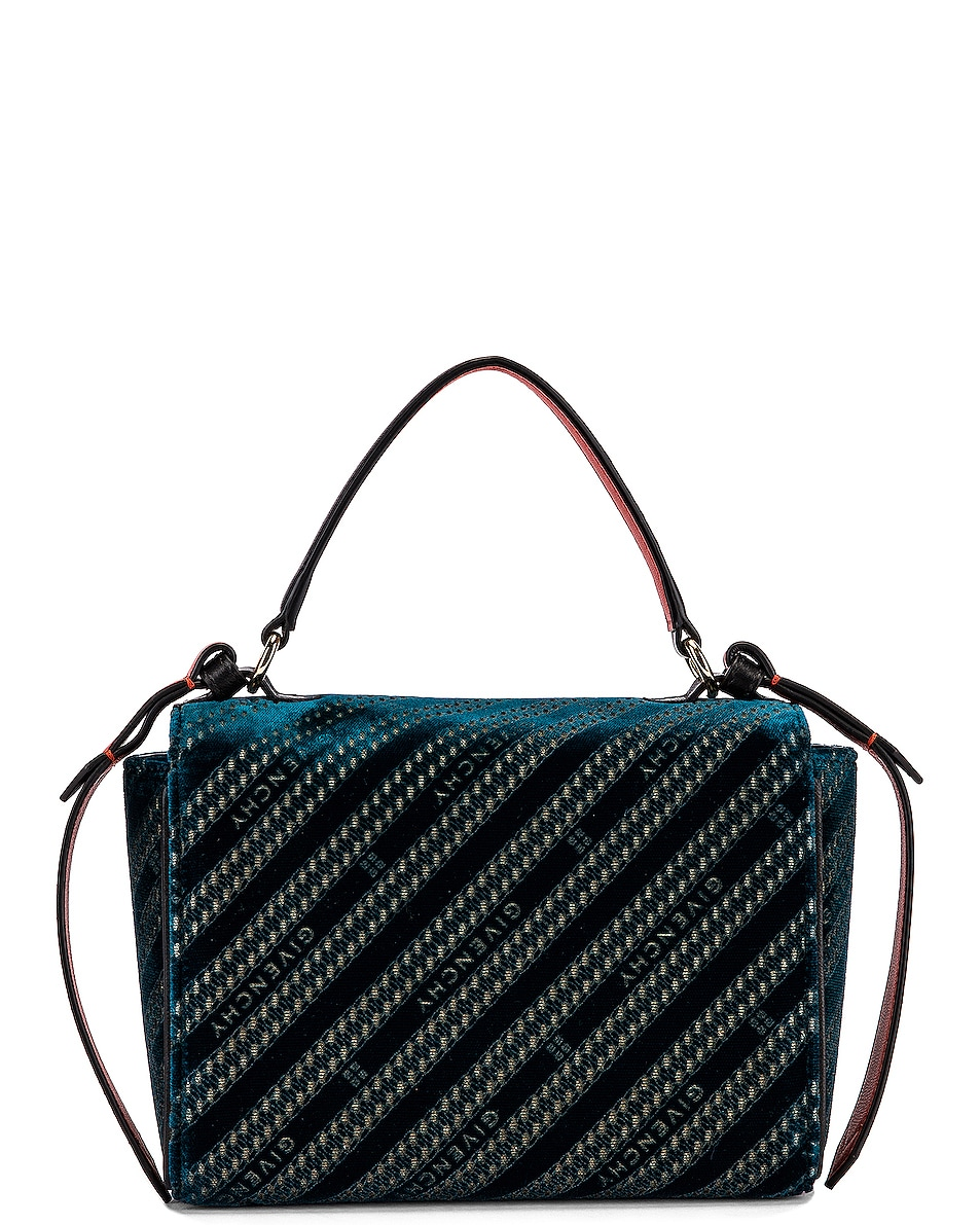 Image 3 of Givenchy Mini Eden Lasered Velvet Bag in Oil Blue
