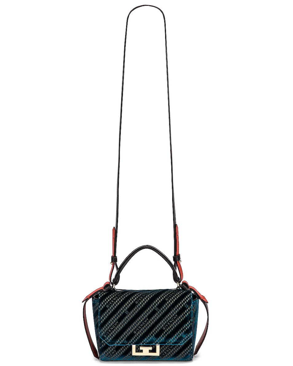Image 6 of Givenchy Mini Eden Lasered Velvet Bag in Oil Blue