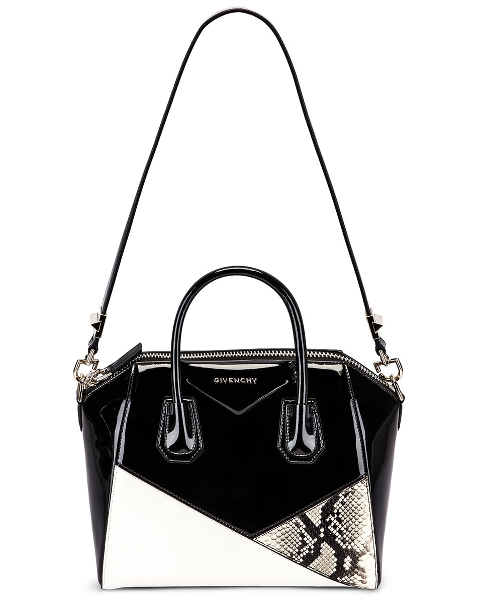 Image 6 of Givenchy Small Mixed Leather Antigona in Black & White