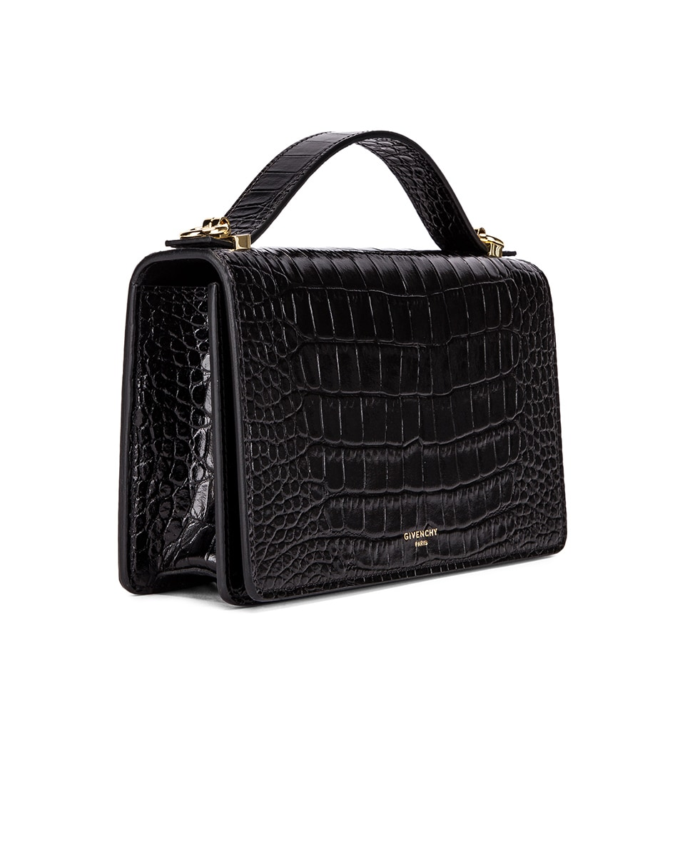 Image 4 of Givenchy Medium GV3 Croc Embossed Crossbody Bag in Black