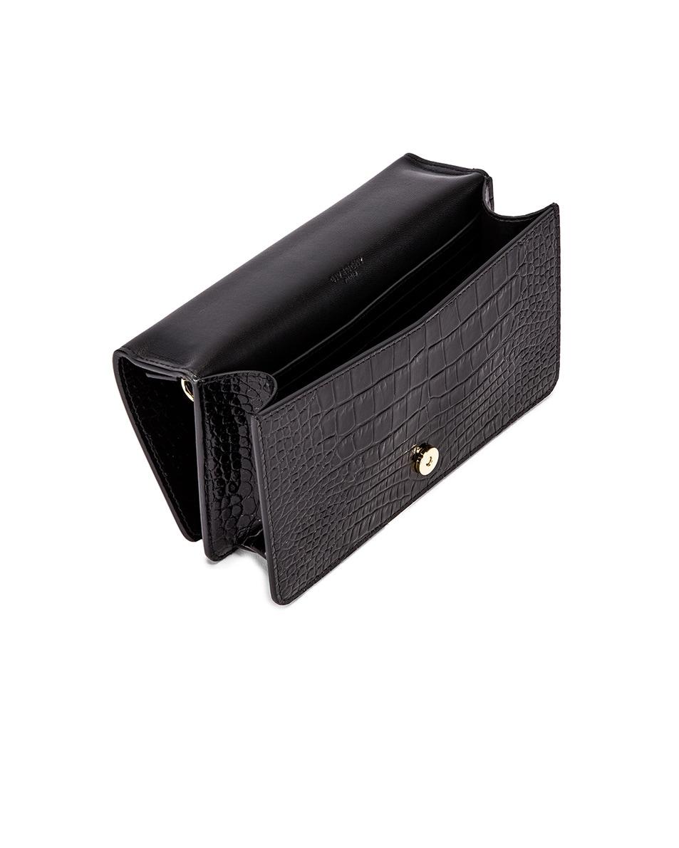 Image 5 of Givenchy Medium GV3 Croc Embossed Crossbody Bag in Black