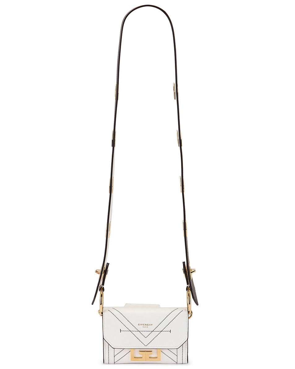 Image 7 of Givenchy Nano Eden Leather Contrasted Details Bag in White