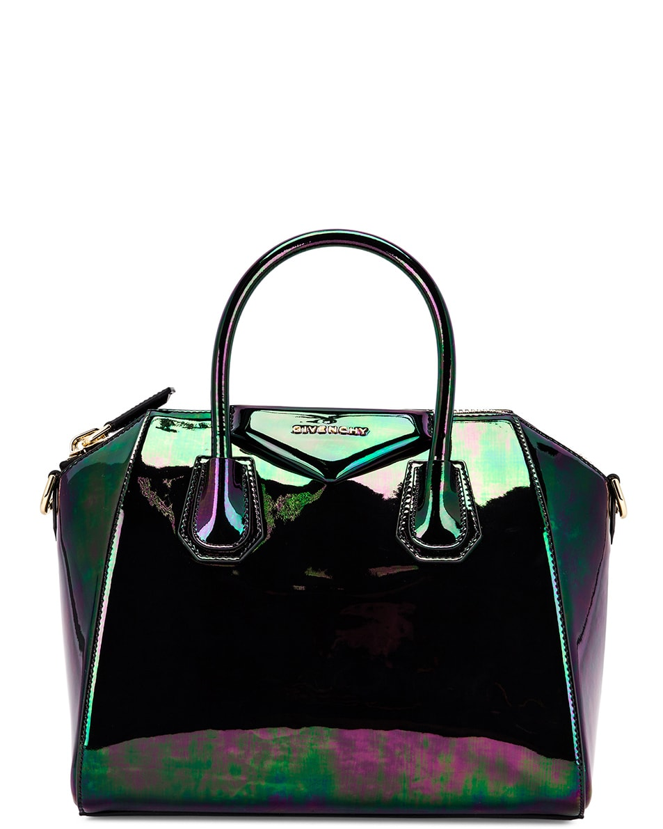 Image 1 of Givenchy Small Antigona Iridescent Leather Bag in Black