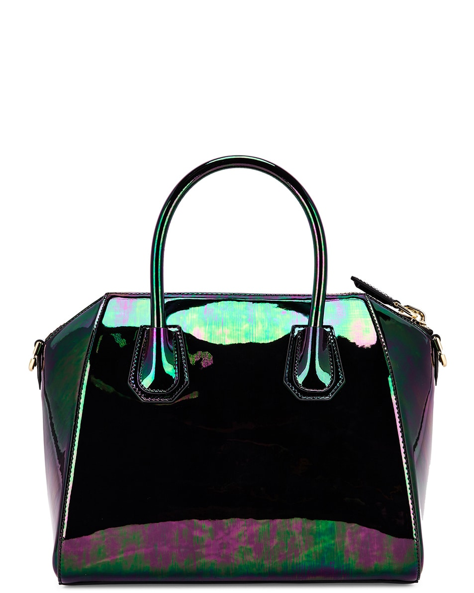 Image 2 of Givenchy Small Antigona Iridescent Leather Bag in Black