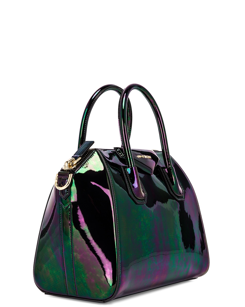 Image 3 of Givenchy Small Antigona Iridescent Leather Bag in Black