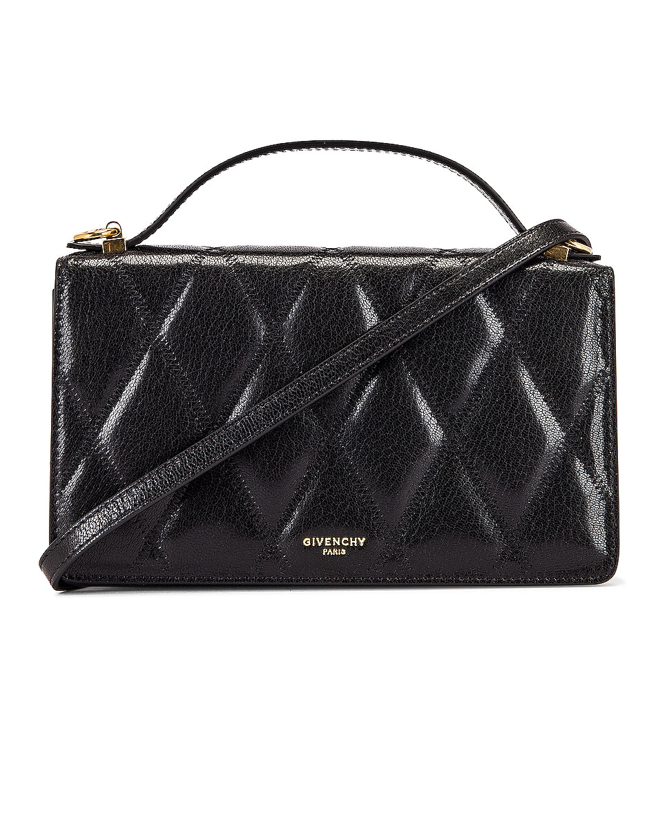 Image 1 of Givenchy GV3 Quilted Leather Strap Wallet Bag in Black
