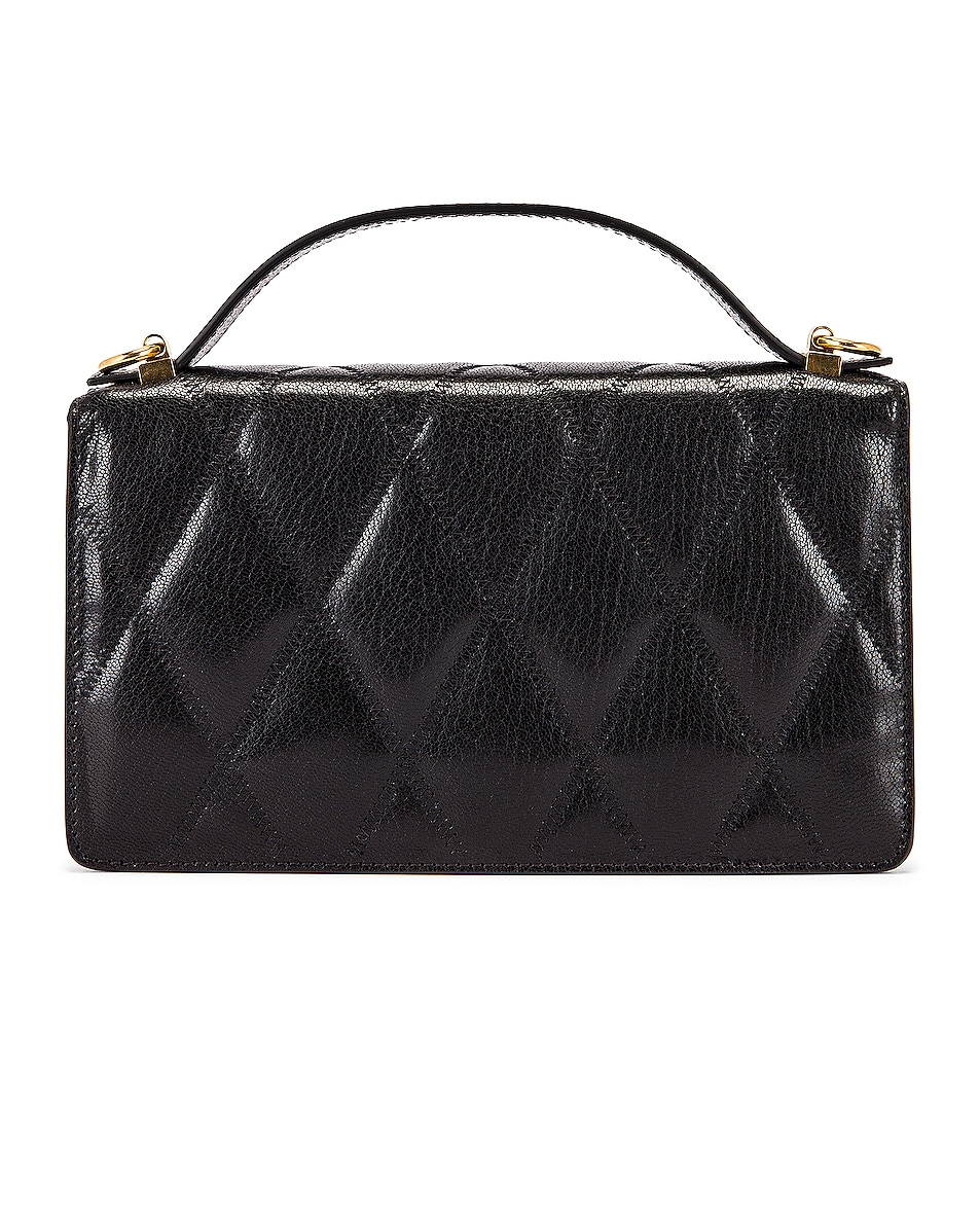 Image 3 of Givenchy GV3 Quilted Leather Strap Wallet Bag in Black