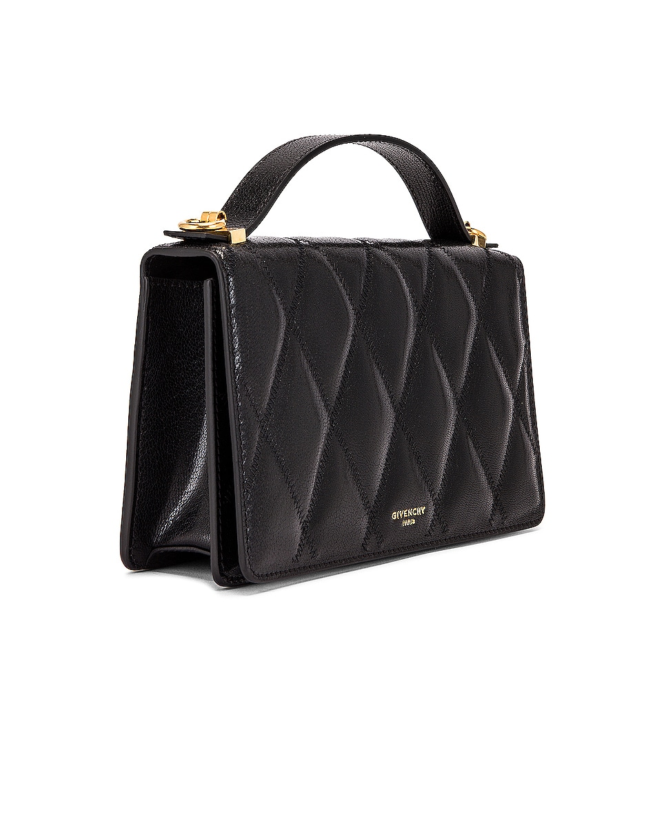 Image 4 of Givenchy GV3 Quilted Leather Strap Wallet Bag in Black