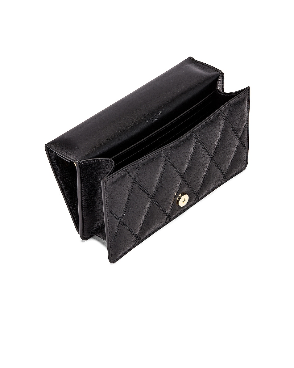 Image 5 of Givenchy GV3 Quilted Leather Strap Wallet Bag in Black