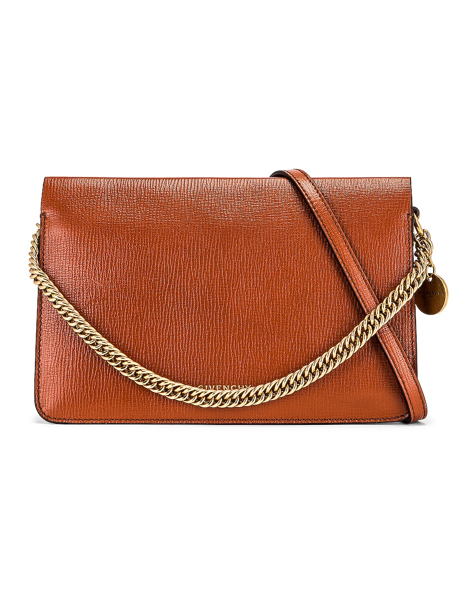 Image 1 of Givenchy Cross 3 Leather & Suede Crossbody Bag in Chestnut