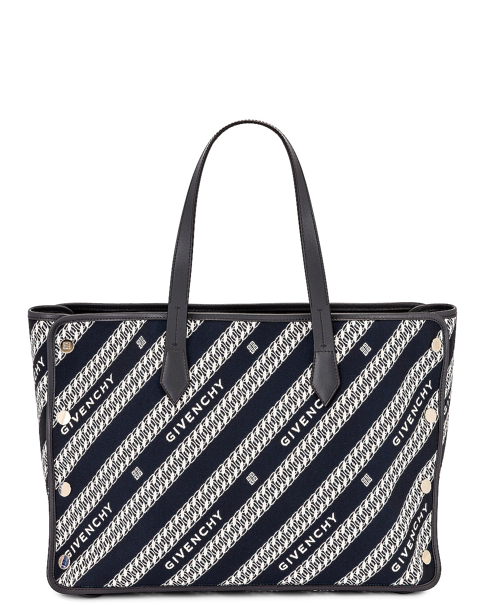 Image 1 of Givenchy Medium Bond Chain Jacquard Tote in Oil Blue