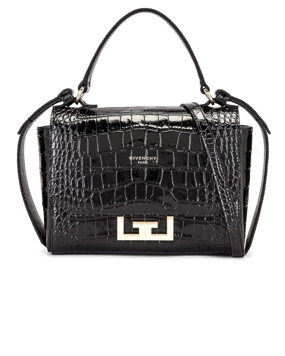 Image 1 of Givenchy Mini Eden Embossed Croc Bag in Black