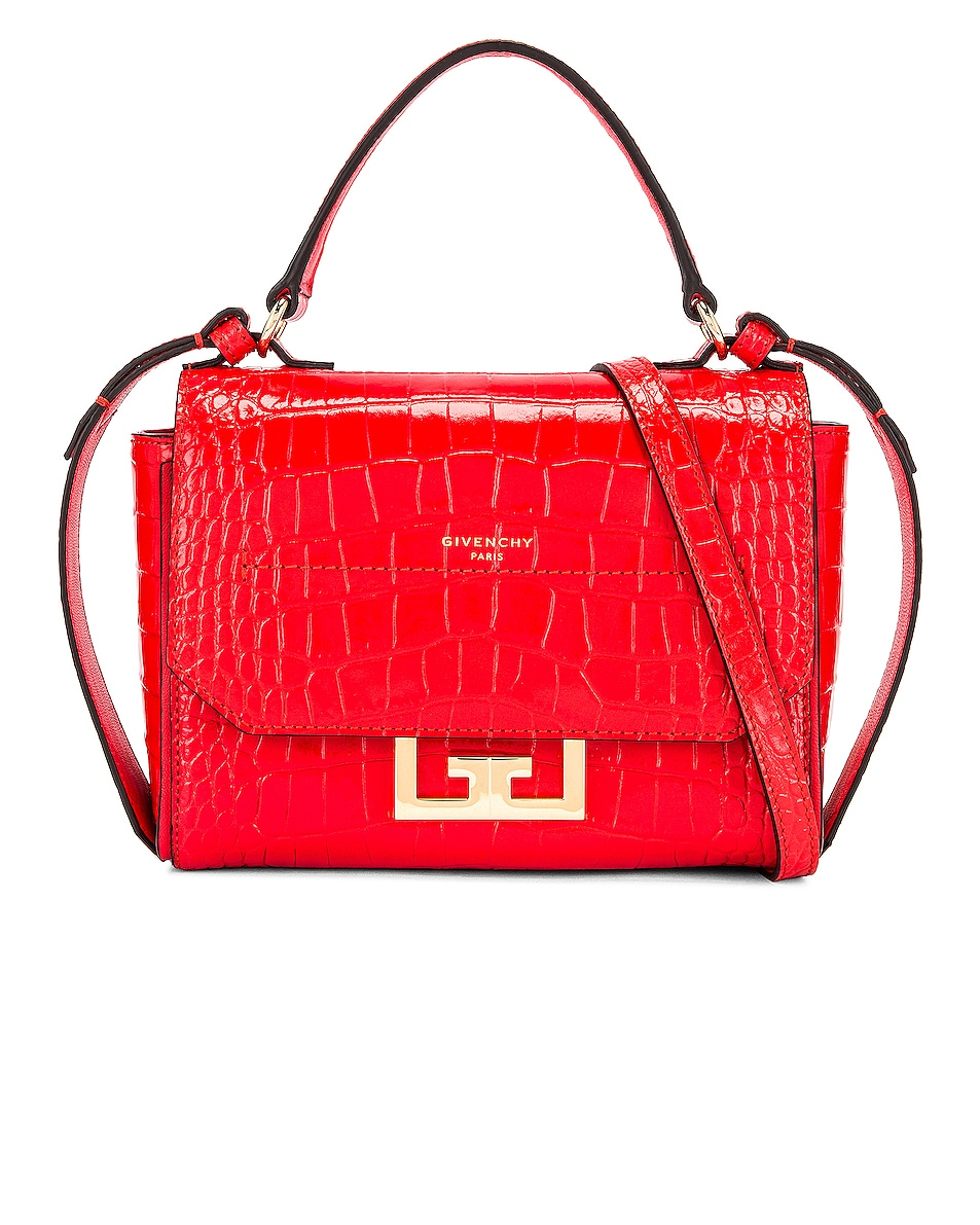Image 1 of Givenchy Mini Eden Embossed Croc Bag in Red