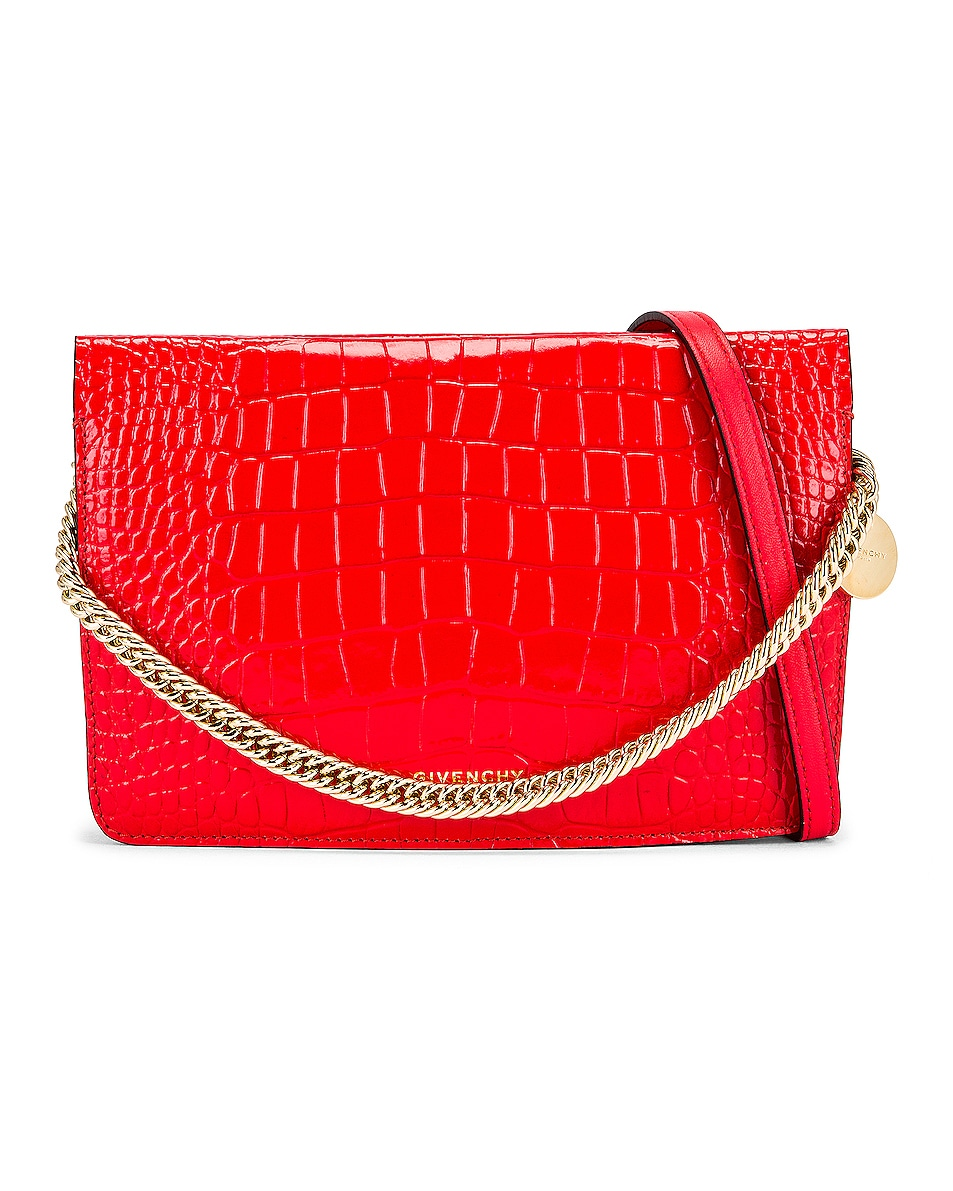 Image 1 of Givenchy Cross 3 Embossed Croc Crossbody Bag in Red