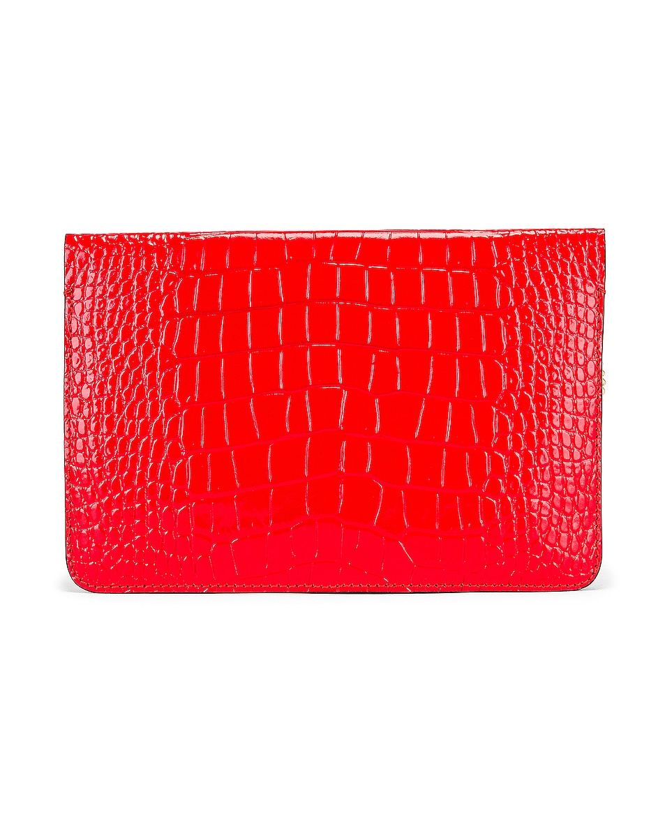 Image 3 of Givenchy Cross 3 Embossed Croc Crossbody Bag in Red