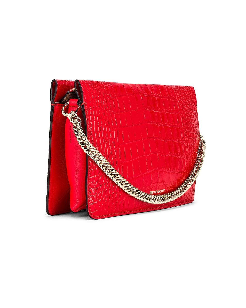 Image 4 of Givenchy Cross 3 Embossed Croc Crossbody Bag in Red