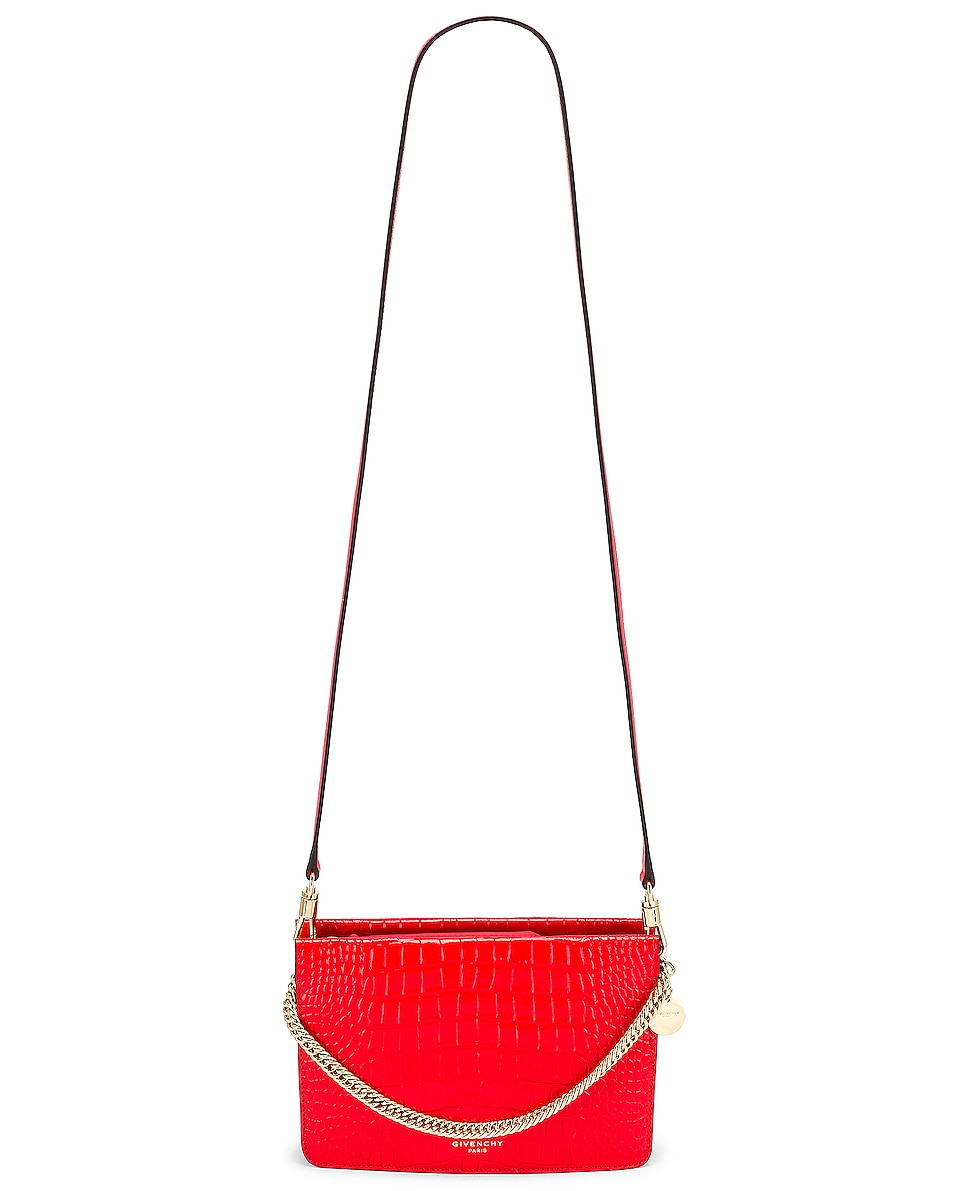 Image 6 of Givenchy Cross 3 Embossed Croc Crossbody Bag in Red