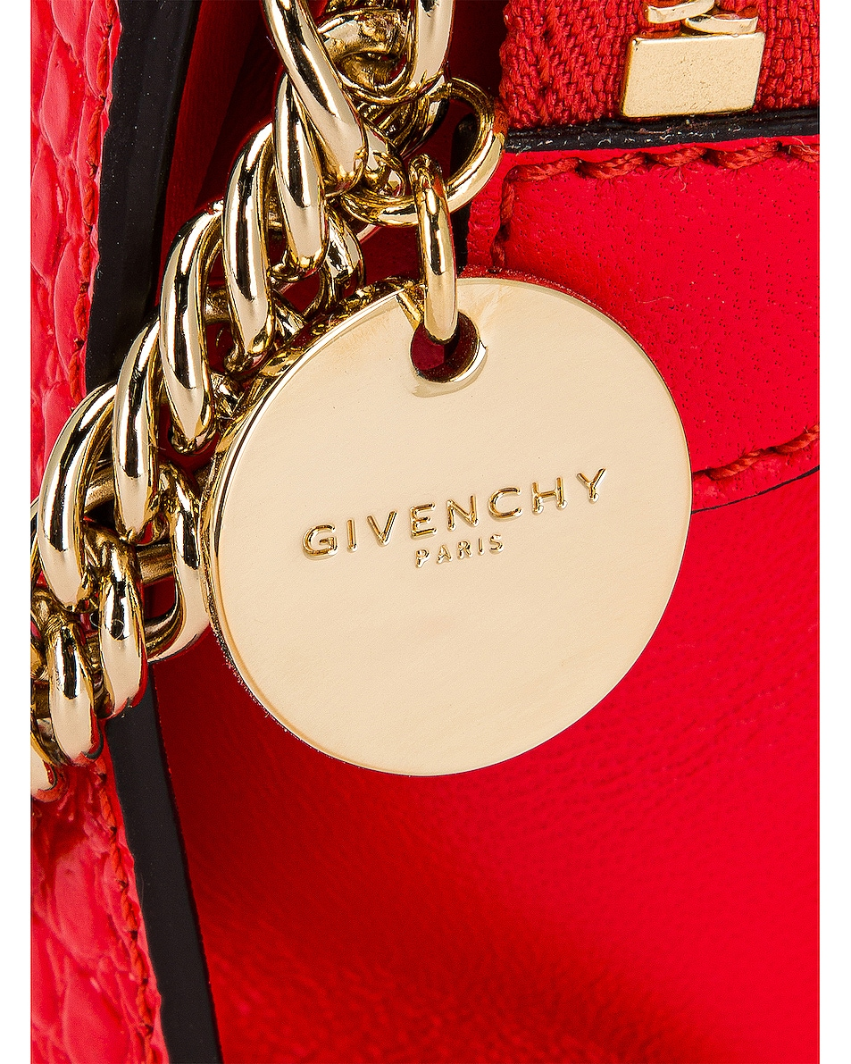 Image 8 of Givenchy Cross 3 Embossed Croc Crossbody Bag in Red