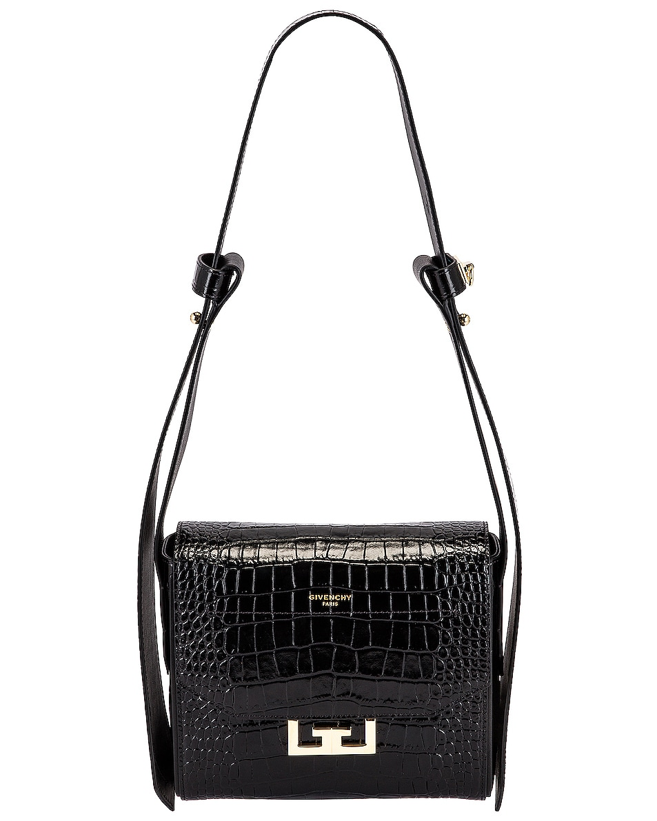 Image 1 of Givenchy Small Eden Embossed Croc Bag in Black