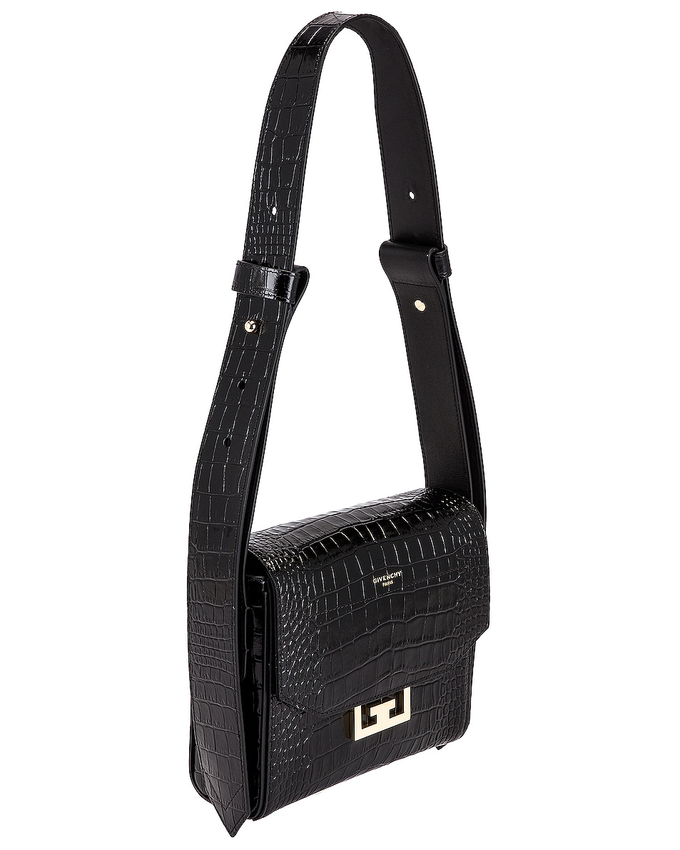 Image 4 of Givenchy Small Eden Embossed Croc Bag in Black