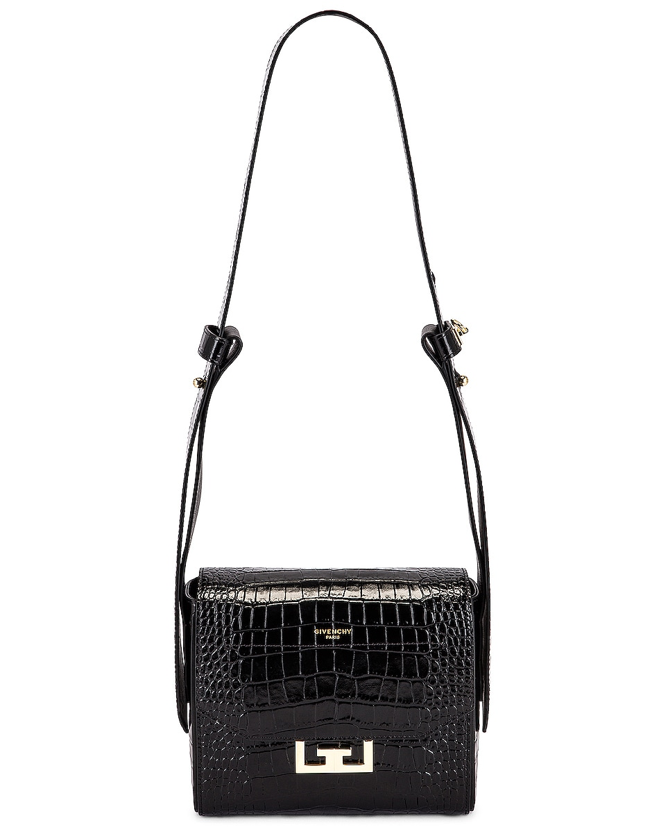 Image 6 of Givenchy Small Eden Embossed Croc Bag in Black