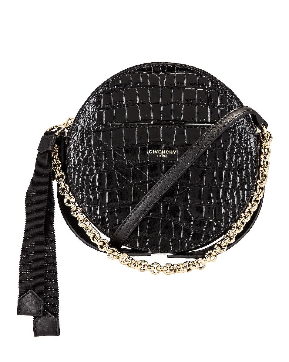 Image 1 of Givenchy Eden Embossed Croc Round Shoulder Bag in Black