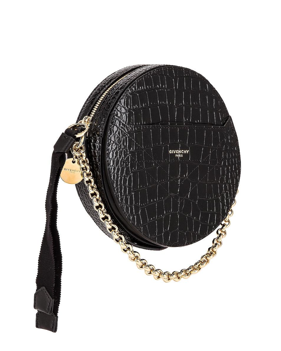 Image 4 of Givenchy Eden Embossed Croc Round Shoulder Bag in Black