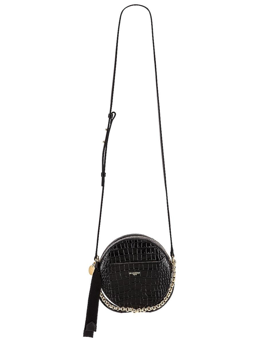Image 6 of Givenchy Eden Embossed Croc Round Shoulder Bag in Black