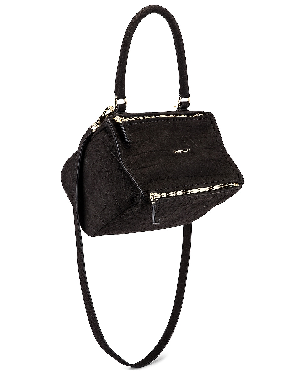 Image 1 of Givenchy Small Pandora Embossed Croc Bag in Black
