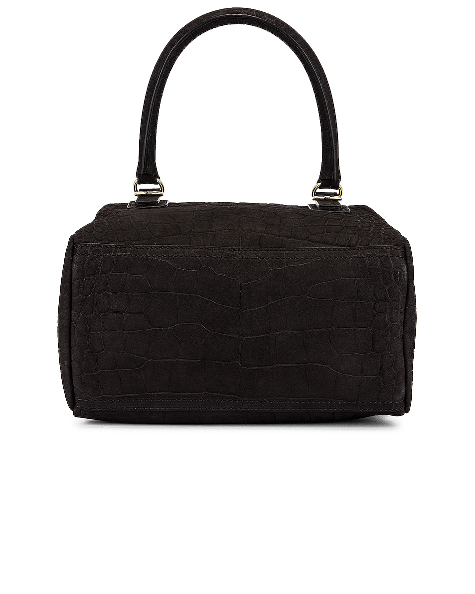 Image 3 of Givenchy Small Pandora Embossed Croc Bag in Black