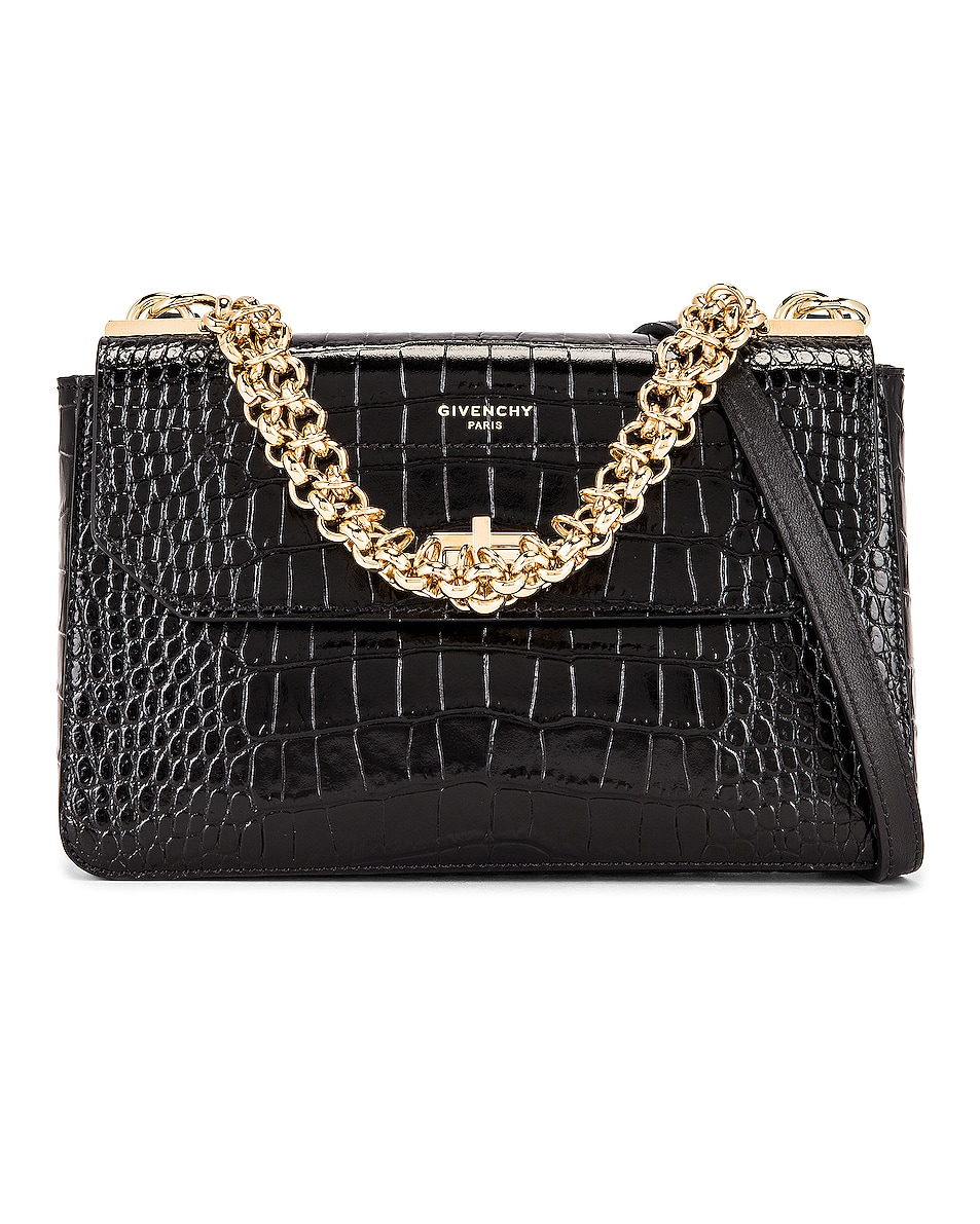 Image 1 of Givenchy Small Catena Embossed Croc Bag in Black