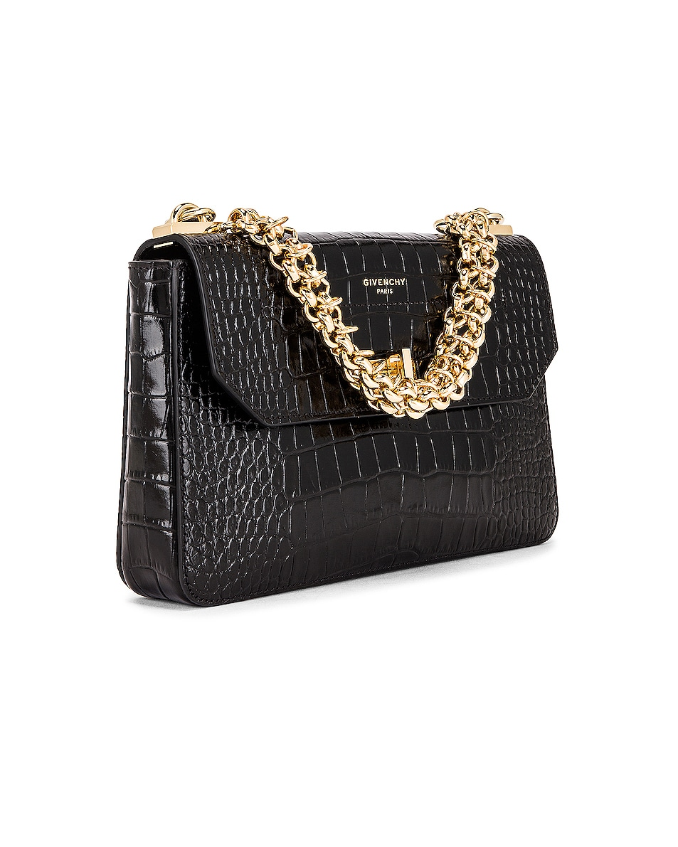Image 4 of Givenchy Small Catena Embossed Croc Bag in Black