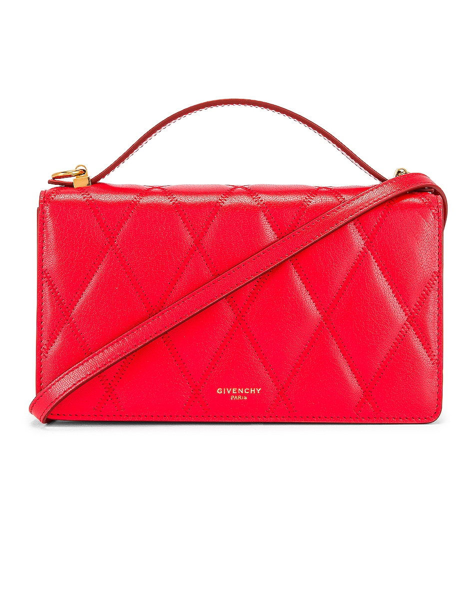 Image 1 of Givenchy GV3 Quilted Leather Strap Wallet Bag in Red