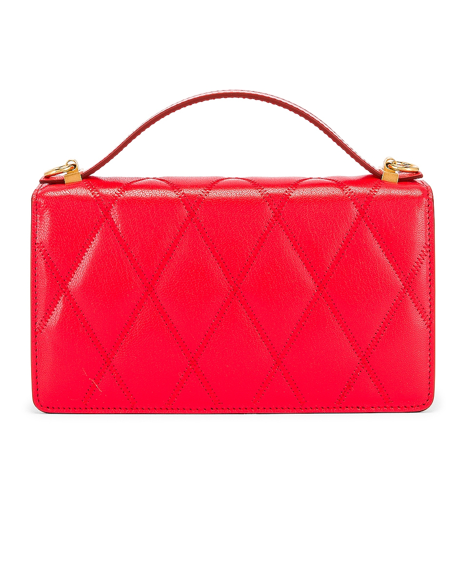 Image 3 of Givenchy GV3 Quilted Leather Strap Wallet Bag in Red