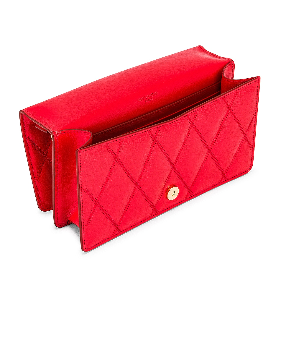 Image 5 of Givenchy GV3 Quilted Leather Strap Wallet Bag in Red