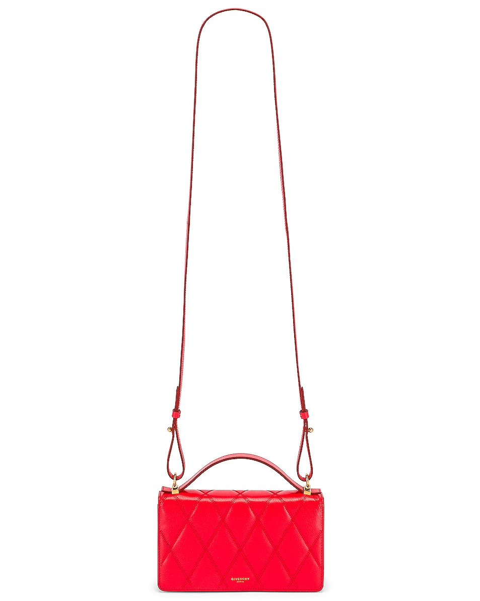 Image 6 of Givenchy GV3 Quilted Leather Strap Wallet Bag in Red